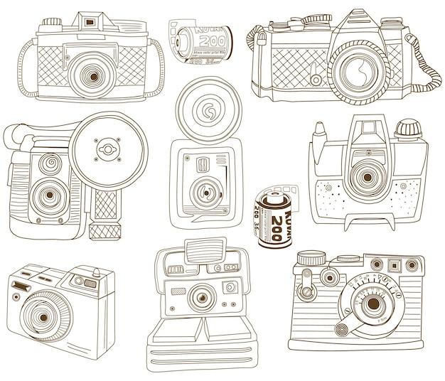 Appareil photo vintage doodle dessiner à la main