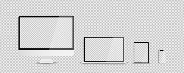 Appareils au design tendance réaliste sur transparent