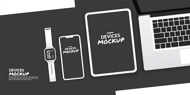 Appareils conceptuels avec écran vide pour le développement d'applications et la conception ux / ui