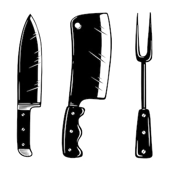 Appareils de cuisine. couteau, couperet à viande, fourchette. élément de design pour logo, étiquette, signe, affiche, carte, bannière, flyer. illustration vectorielle