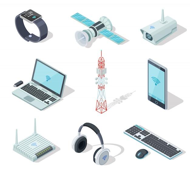 Appareils électroniques. connexion de gadgets sans fil isométriques.