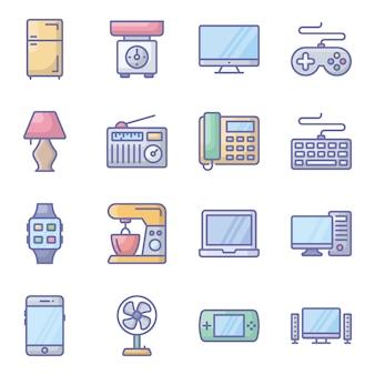 Appareils électroniques plat icônes pack