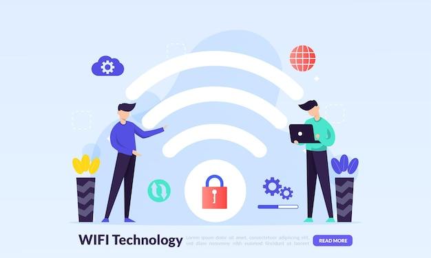 Appareils électroniques à technologie sans fil accès internet et connexion à un hotspot wifi public pour accéder à internet