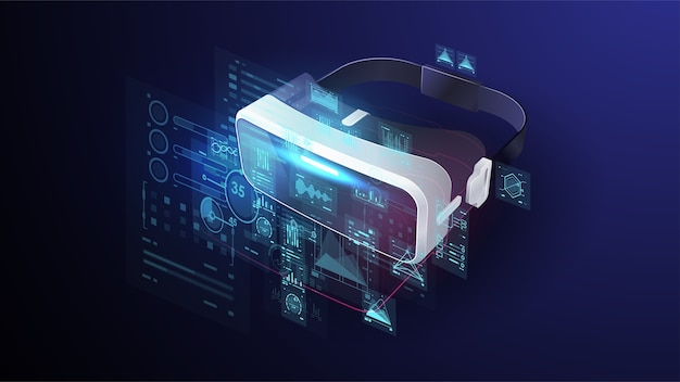Appareils vr, lunettes et contrôleurs virtuels, lunettes de réalité virtuelle, joystick, outils pour jouer à des jeux vidéo électroniques dans le cyberespace numérique. affiche futuriste.
