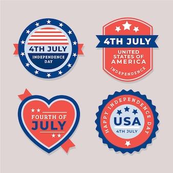 Appartement 4 juillet - collection d'étiquettes de fête de l'indépendance