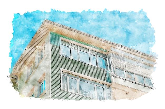 Appartement aquarelle croquis dessinés à la main illustration