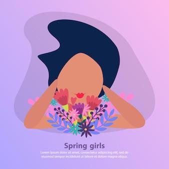 Appartement avec bouquet de fleurs et fille aux cheveux noirs