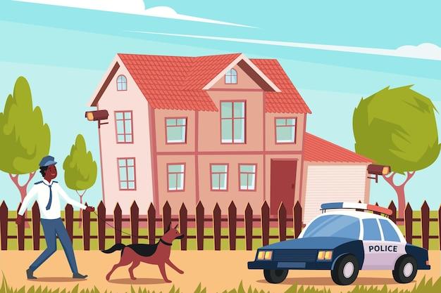 Appartement avec chien policier et voiture devant la maison
