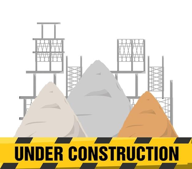 Appartement en construction avertissement et béton