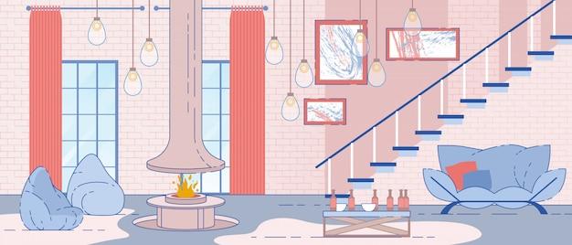 Appartement loft intérieur vector plate