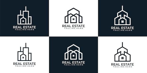 Appartement de logo résidentiel d'immobilier d'architecture de monogramme