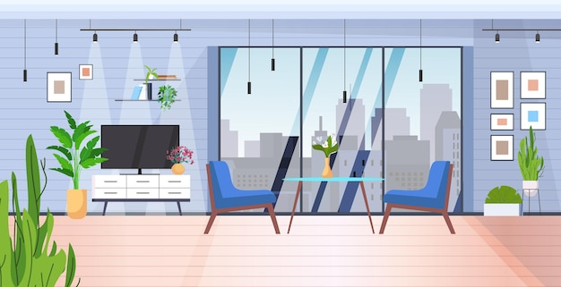 Appartement de maison moderne intérieur de salon avec fenêtres panoramiques horizontales