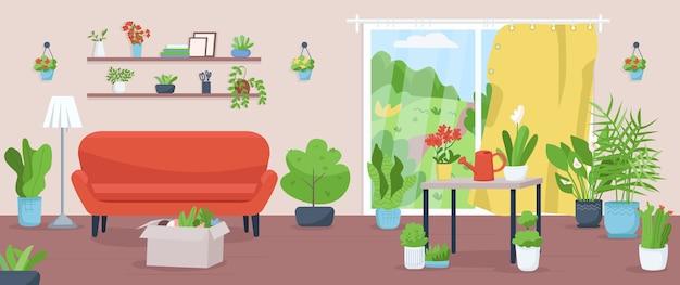 Appartement avec des plantes de couleur plate. salle de séjour pour l'horticulture. cultivez des légumes dans la maison. l'agriculture domestique. intérieur de dessin animé 2d jardin à la maison avec des plantes d'intérieur sur fond