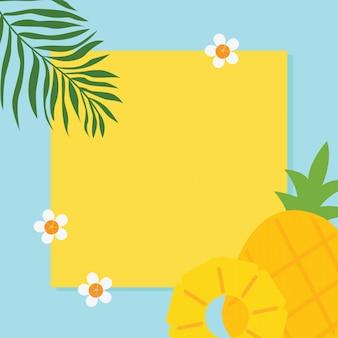 Appartement plat d'ananas, fleurs, feuille de palmier sur fond jaune et bleu avec fond, vacances d'été tropical