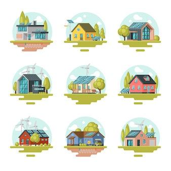 Appartement plat de maisons écologiques modernes et traditionnelles. bâtiments résidentiels avec panneaux solaires, éoliennes