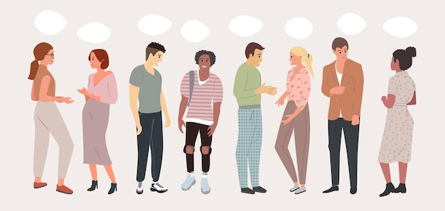 Appartement de réunion multilingue. un groupe de personnes communique le concept de réseaux sociaux.