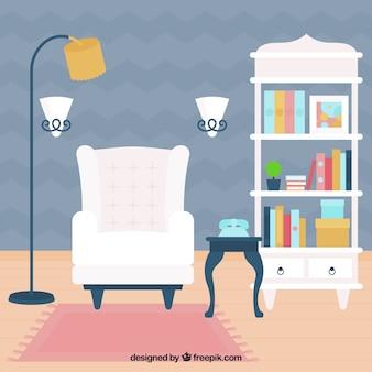 Appartement salon avec fauteuil blanc