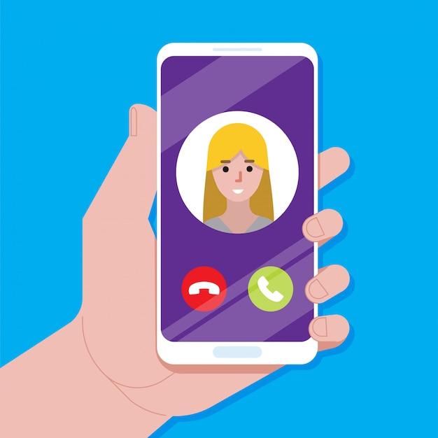 Appel entrant sur l'écran du smartphone