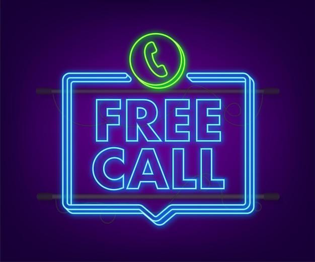 Appel gratuit. informatique. icône de néon de téléphone. service clients. illustration vectorielle de stock.