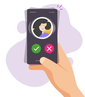 Appel téléphonique, sonnerie de téléphone portable smartphone mobile sur la main de l'homme personne