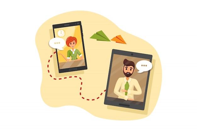 Appel vidéo, affaires, communication, réunion, concept de quarantaine en ligne