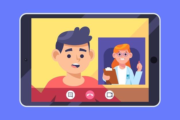 Appel vidéo avec concept de thérapeute