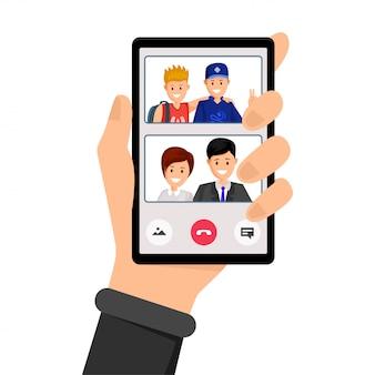 Appel vidéo, conversation en famille