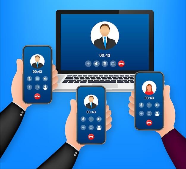Appel vidéo entrant sur l'illustration de l'ordinateur portable