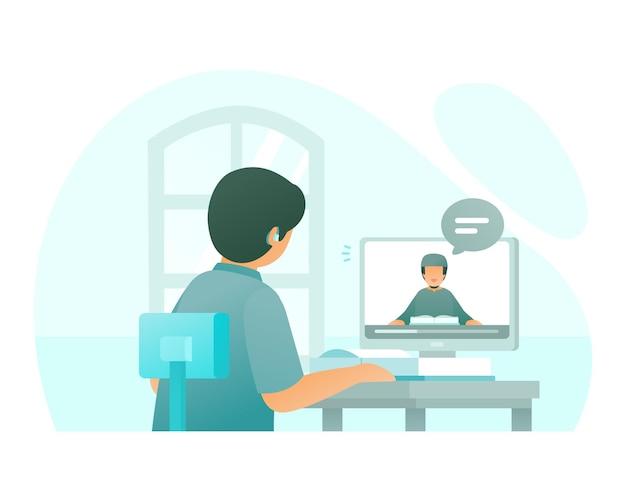 Un appel vidéo étudiant avec son professeur en ligne