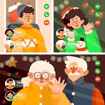 Appel vidéo en famille de noël