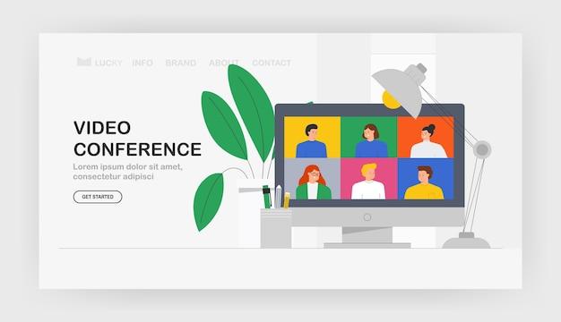 Appel vidéo d'illustration à la mode de communication moderne, bannière, web.