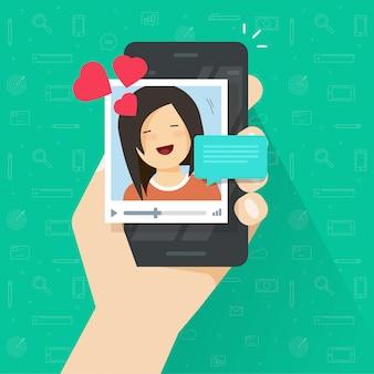 Appel vidéo avec une petite amie sur une caricature plate de téléphone portable vecteur