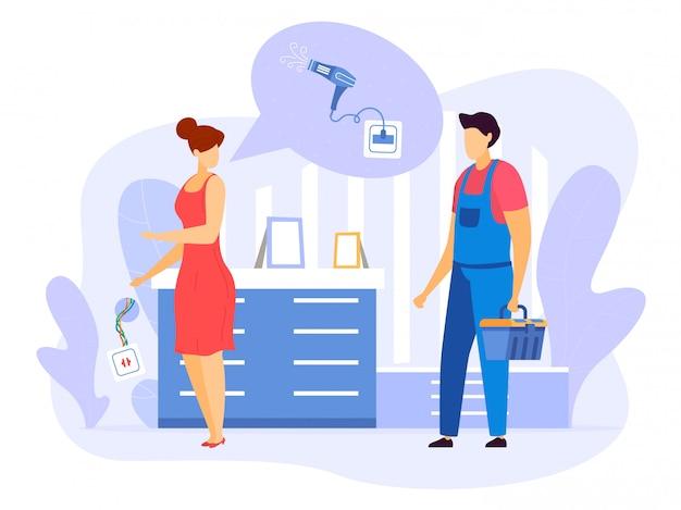 Appeler un électricien à l'illustration de la maison, personnage de dessin animé de femme plate appelé bricoleur réparateur pour réparer la prise électrique