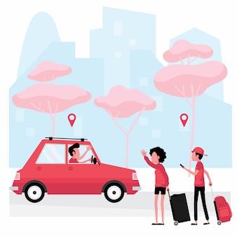 Appelez un service de taxi: les personnes avec des bagages agitent la main à un chauffeur