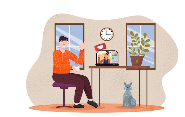 Appels vidéo. conversation d'entretien d'embauche. vidéoconférence, appel vidéo. écran d'ordinateur portable. concept d'étude. concept de communication informatique en ligne plat. concept de bureau à domicile. fond emoji.