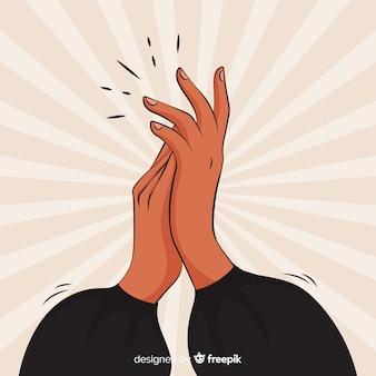 Applaudissements dessinés à la main avec effet sunburst