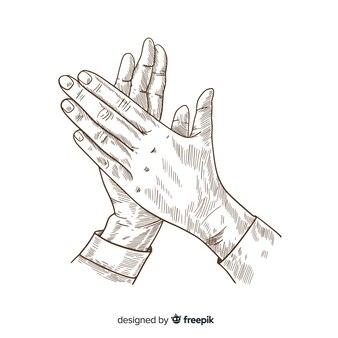 Applaudissements dessinés à la main vintage sans couleur
