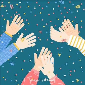 Applaudissements plats avec fond de confettis