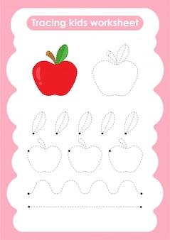 Apple - feuille de travail pour l'écriture et le dessin de lignes de trace pour les enfants