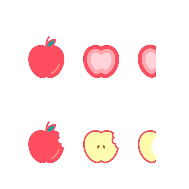 Apple fruit icons set illustration de conception