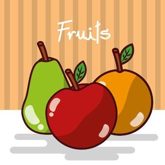 Apple et orange poire fruits délicieux brillant affiche