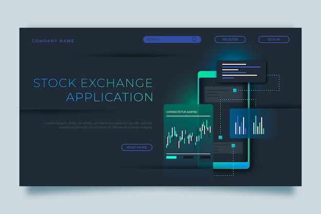 Application de bourse - page de destination