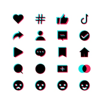 Application de boutons de conception moderne de modèles de médias sociaux. définissez des icônes: recherche, histoire, comme, partager, hashtag, utilisateur, commentaire, note, accueil, plus.
