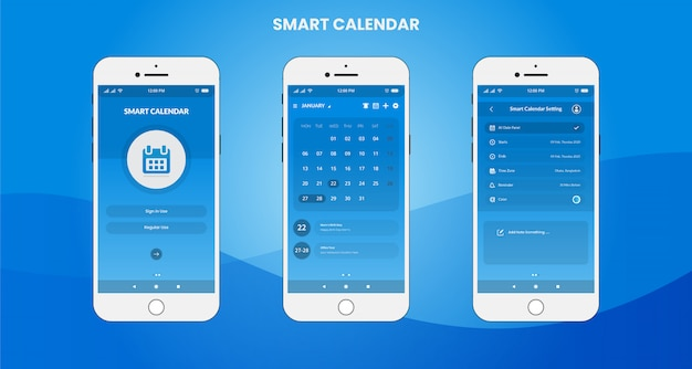 Application calendrier intelligente design ui / ux