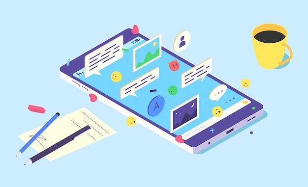 Application de chat de médias sociaux mobile isométrique téléphone
