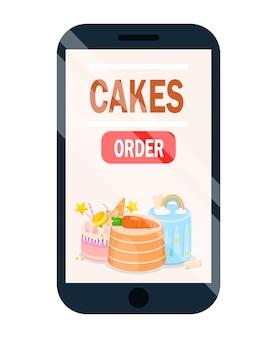 Application de commande en ligne de gâteau avec l'affiche de menu.