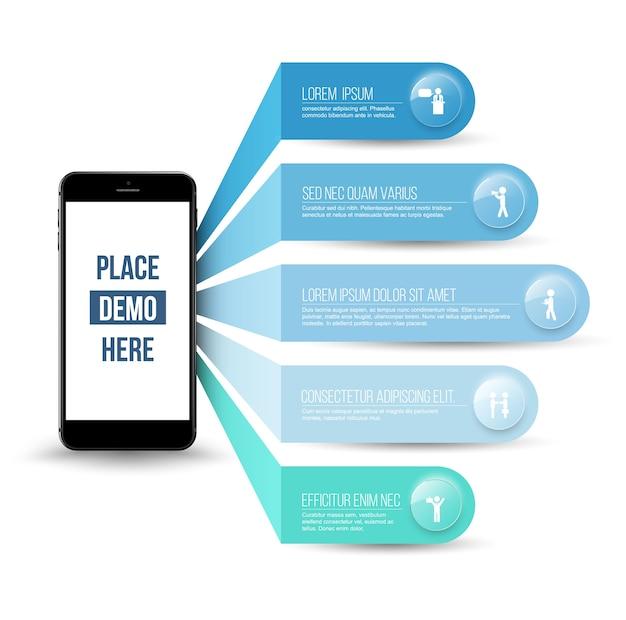 Application sur les concepts de smartphone avec des icônes