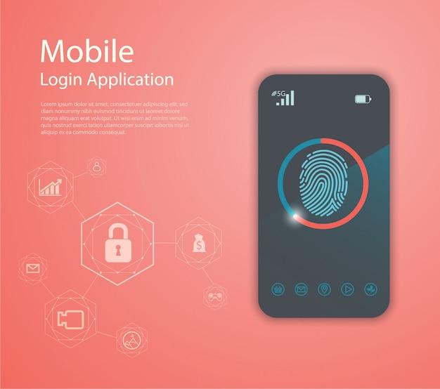 Application de connexion avec la fenêtre de formulaire d'empreinte digitale.