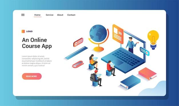 Application de cours en ligne, page de destination ou modèle web