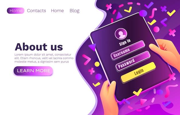Application de fenêtre de connexion, mot de passe du nom d'utilisateur, conception de sites web
